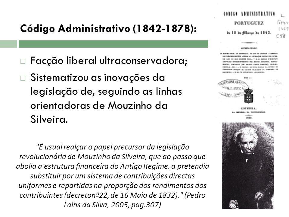 Código Administrativo (1842-1878): Facção liberal ultraconservadora; Sistematizou as inovações da legislação de, seguindo as linhas orientadoras de Mo