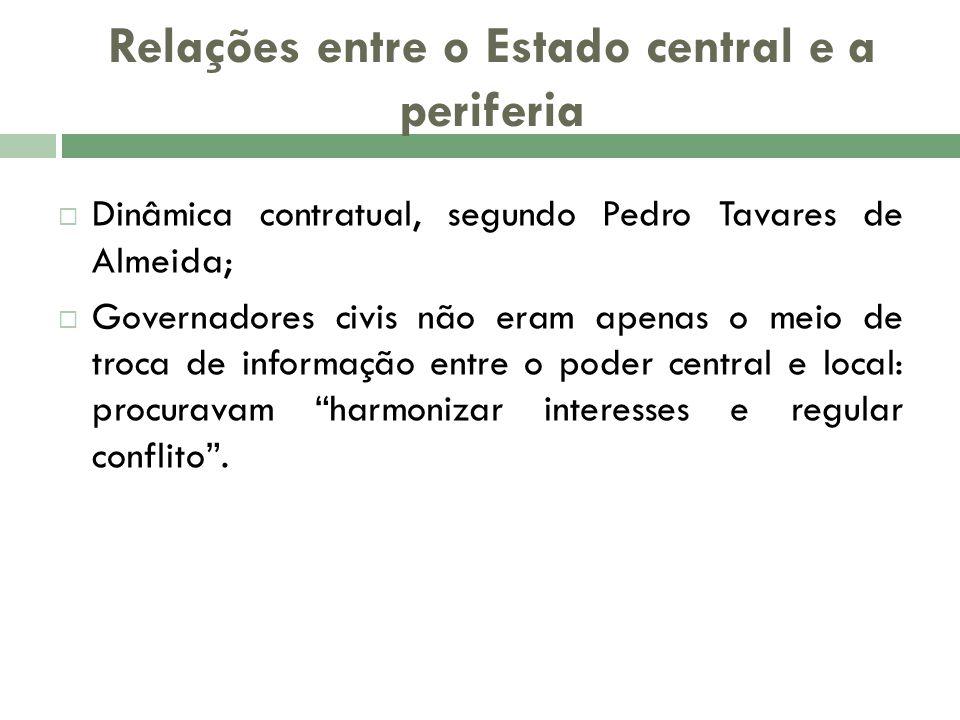 Relações entre o Estado central e a periferia Dinâmica contratual, segundo Pedro Tavares de Almeida; Governadores civis não eram apenas o meio de troc