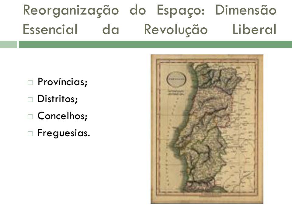Províncias; Distritos; Concelhos; Freguesias. Reorganização do Espaço: Dimensão Essencial da Revolução Liberal