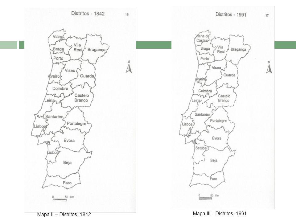 Mapa II – Distritos, 1842 Mapa III - Distritos, 1991