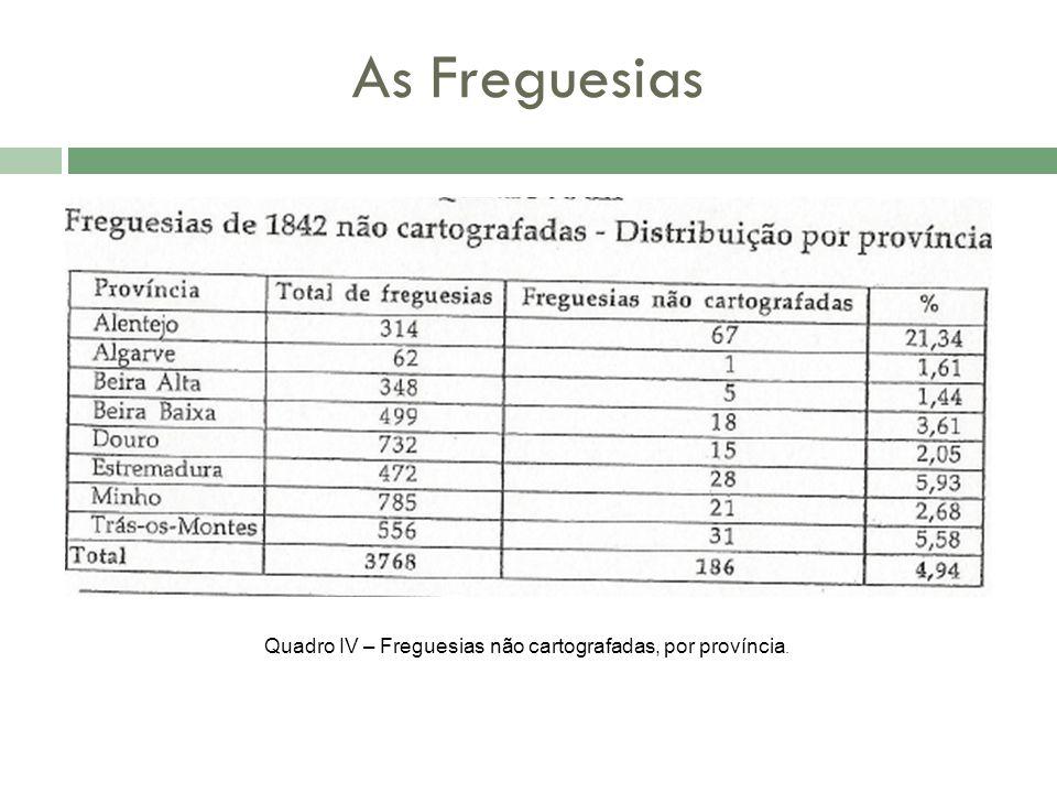 As Freguesias Quadro IV – Freguesias não cartografadas, por província.