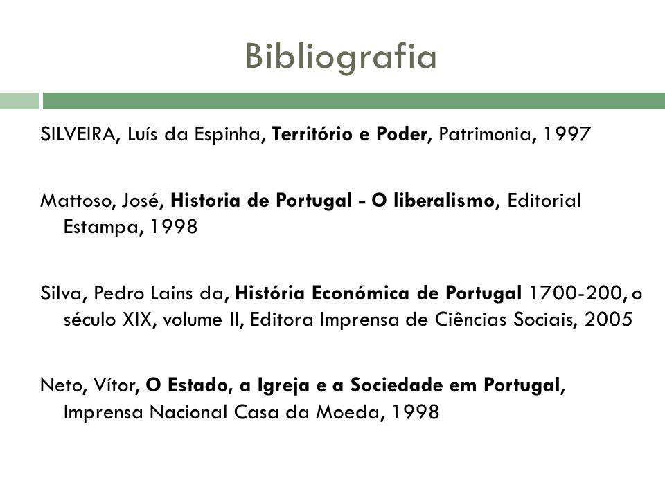 SILVEIRA, Luís da Espinha, Território e Poder, Patrimonia, 1997 Mattoso, José, Historia de Portugal - O liberalismo, Editorial Estampa, 1998 Silva, Pe