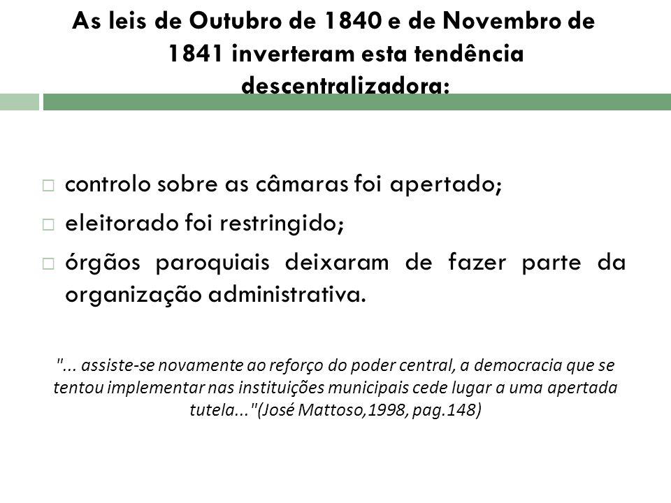 As leis de Outubro de 1840 e de Novembro de 1841 inverteram esta tendência descentralizadora: controlo sobre as câmaras foi apertado; eleitorado foi r