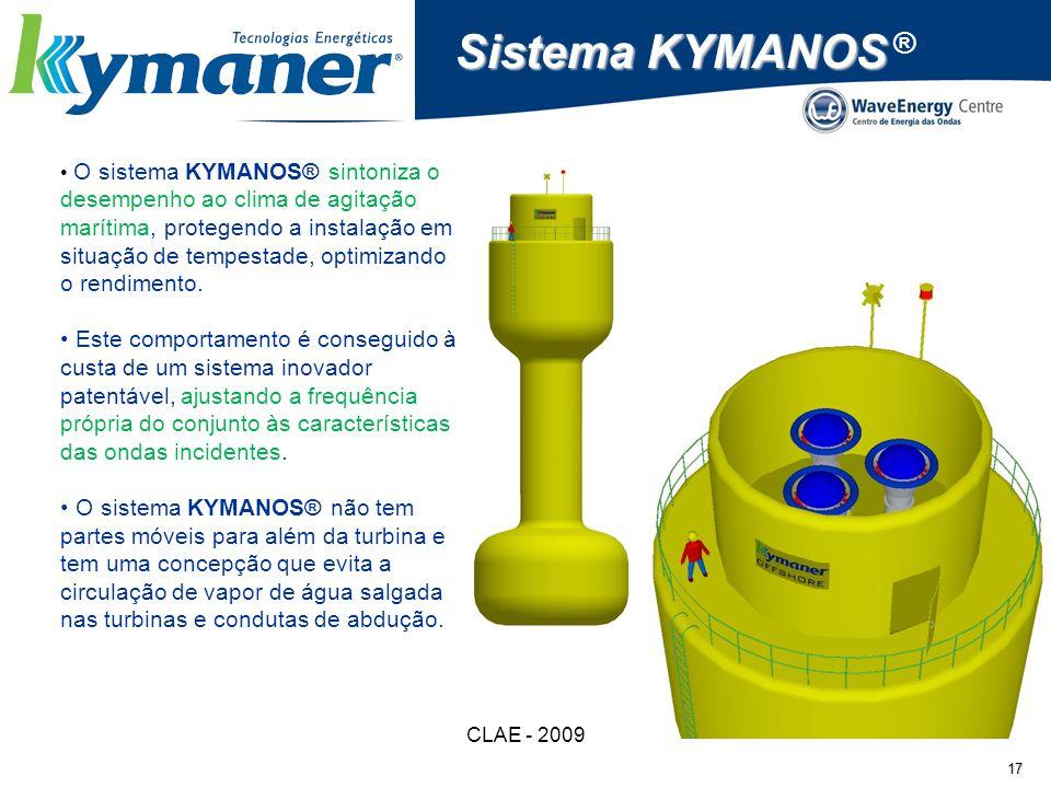 CLAE - 2009 17 Sistema KYMANOS Sistema KYMANOS ® O sistema KYMANOS® sintoniza o desempenho ao clima de agitação marítima, protegendo a instalação em s