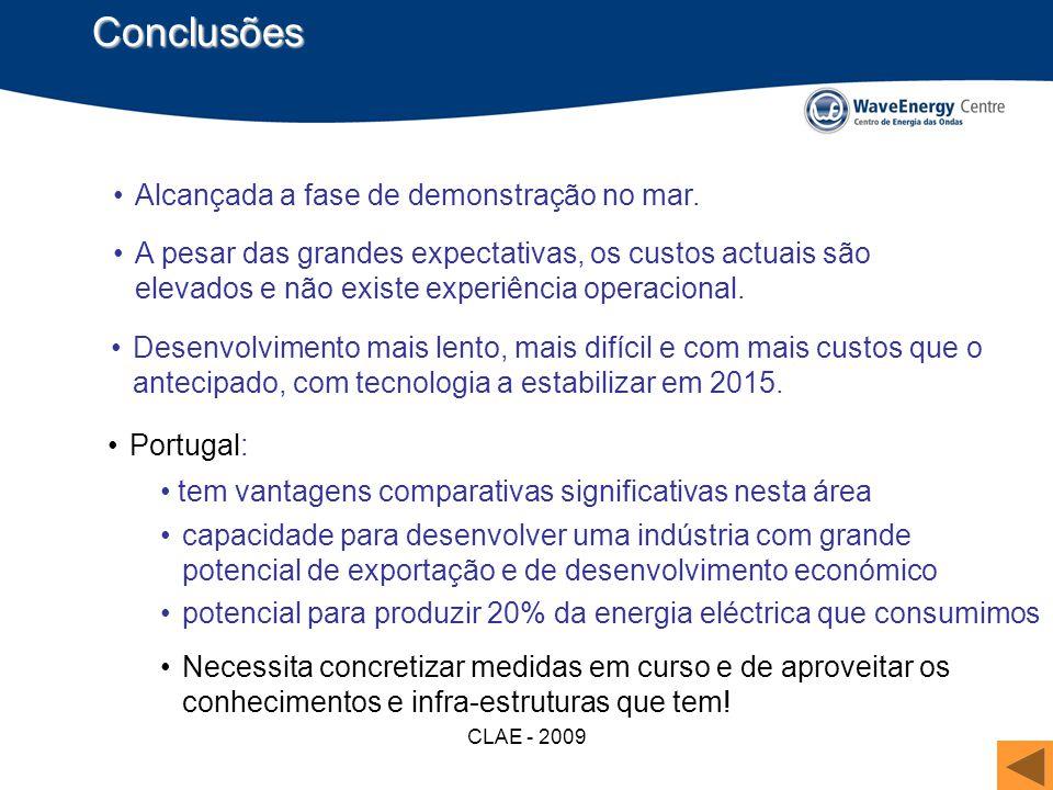 CLAE - 2009 Conclusões A pesar das grandes expectativas, os custos actuais são elevados e não existe experiência operacional. Desenvolvimento mais len
