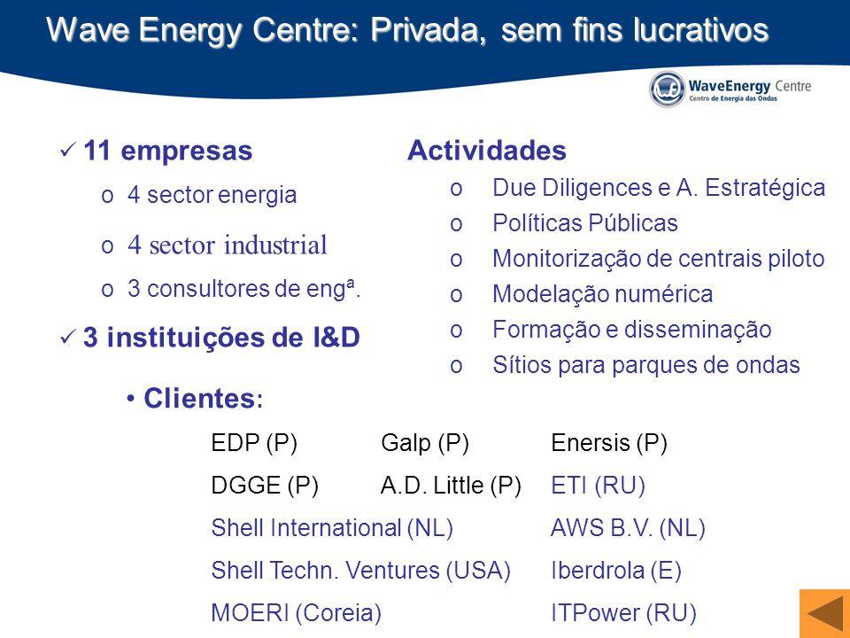 CLAE - 2009 Wave Energy Centre: Privada, sem fins lucrativos 11 empresas o 4 sector energia o 4 sector industrial o 3 consultores de engª. 3 instituiç
