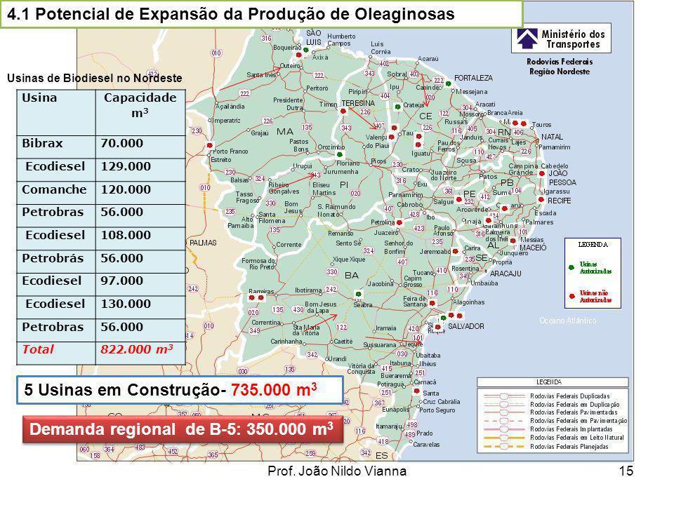 Prof. João Nildo Vianna15 4.1 Potencial de Expansão da Produção de Oleaginosas Usina Capacidade m 3 Bibrax70.000 Ecodiesel129.000 Comanche120.000 Petr