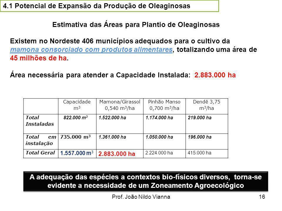 Prof. João Nildo Vianna16 Estimativa das Áreas para Plantio de Oleaginosas Existem no Nordeste 406 municípios adequados para o cultivo da mamona conso