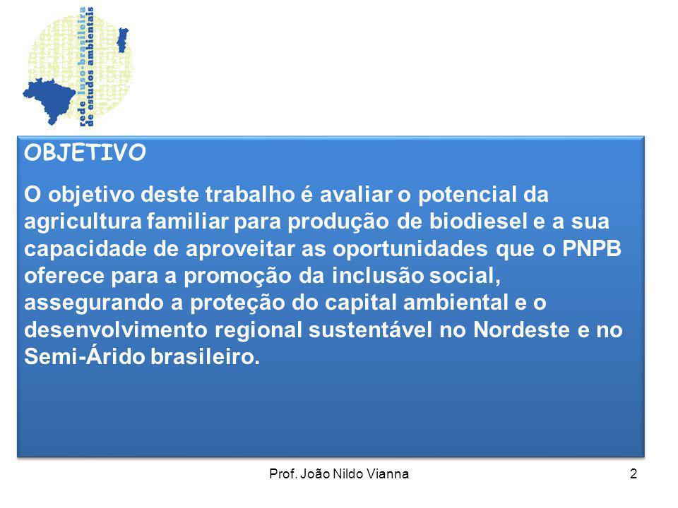 Prof. João Nildo Vianna2 OBJETIVO O objetivo deste trabalho é avaliar o potencial da agricultura familiar para produção de biodiesel e a sua capacidad