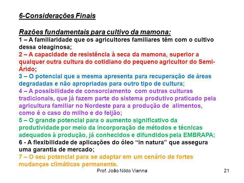 Prof. João Nildo Vianna21 6-Considerações Finais Razões fundamentais para cultivo da mamona: 1 – A familiaridade que os agricultores familiares têm co