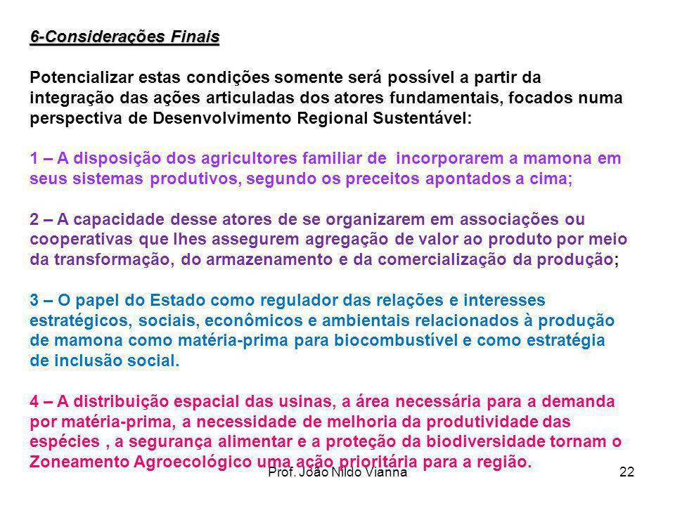 Prof. João Nildo Vianna22 6-Considerações Finais Potencializar estas condições somente será possível a partir da integração das ações articuladas dos