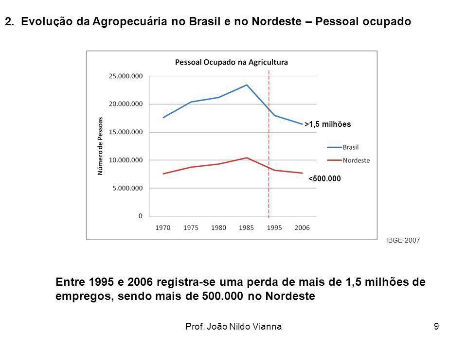 Prof. João Nildo Vianna9 2. Evolução da Agropecuária no Brasil e no Nordeste – Pessoal ocupado Entre 1995 e 2006 registra-se uma perda de mais de 1,5