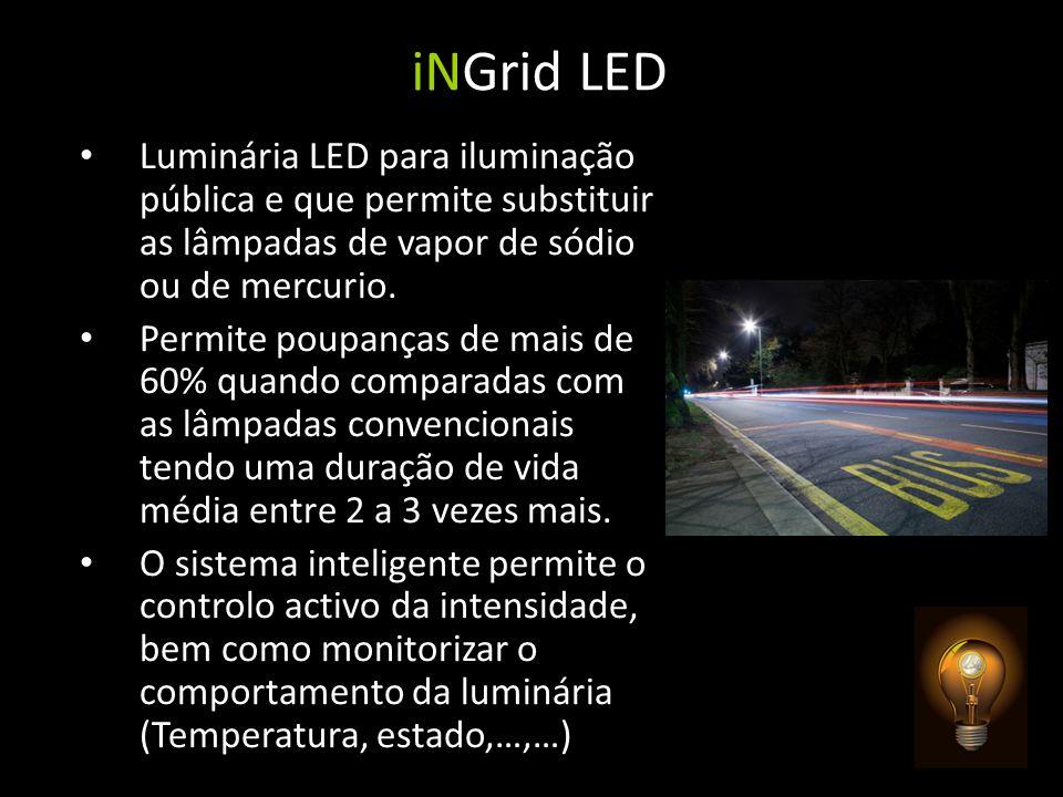 iNGrid LED Luminária LED para iluminação pública e que permite substituir as lâmpadas de vapor de sódio ou de mercurio. Permite poupanças de mais de 6