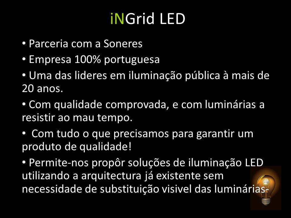 Parceria com a Soneres Empresa 100% portuguesa Uma das lideres em iluminação pública à mais de 20 anos. Com qualidade comprovada, e com luminárias a r