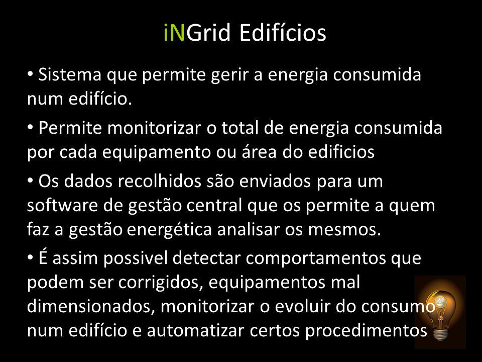 iNGrid Edifícios Sistema que permite gerir a energia consumida num edifício. Permite monitorizar o total de energia consumida por cada equipamento ou