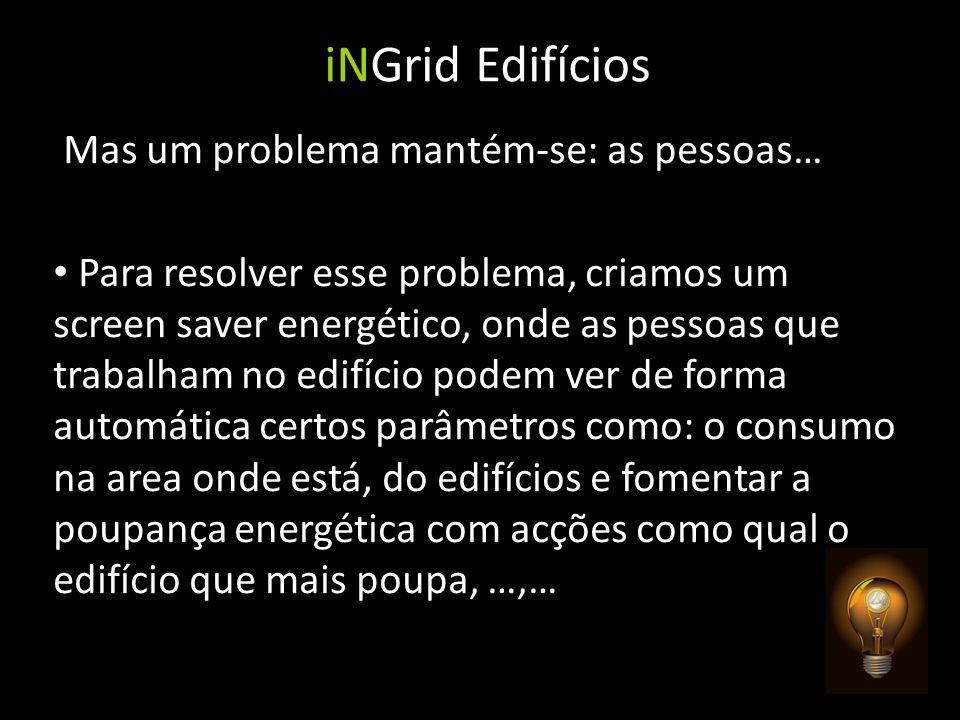 iNGrid Edifícios Mas um problema mantém-se: as pessoas… Para resolver esse problema, criamos um screen saver energético, onde as pessoas que trabalham