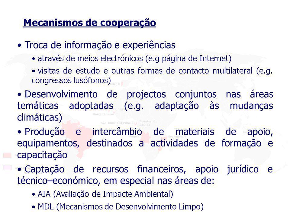 Troca de informação e experiências através de meios electrónicos (e.g página de Internet) visitas de estudo e outras formas de contacto multilateral (e.g.