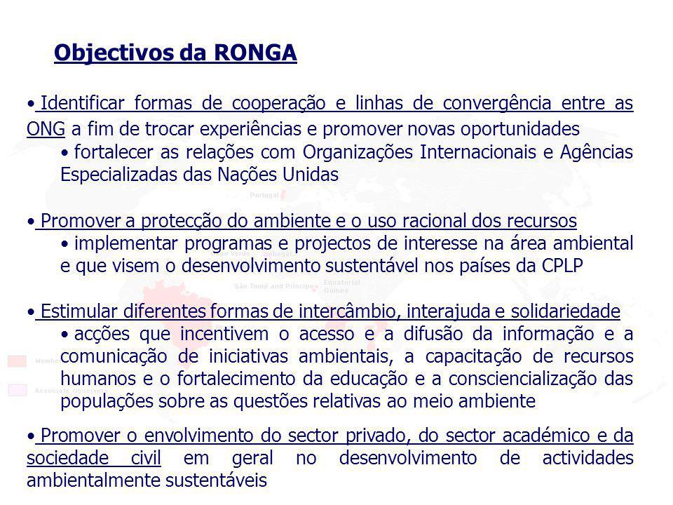 Identificar formas de cooperação e linhas de convergência entre as ONG a fim de trocar experiências e promover novas oportunidades fortalecer as relações com Organizações Internacionais e Agências Especializadas das Nações Unidas Objectivos da RONGA Promover a protecção do ambiente e o uso racional dos recursos implementar programas e projectos de interesse na área ambiental e que visem o desenvolvimento sustentável nos países da CPLP Promover o envolvimento do sector privado, do sector académico e da sociedade civil em geral no desenvolvimento de actividades ambientalmente sustentáveis Estimular diferentes formas de intercâmbio, interajuda e solidariedade acções que incentivem o acesso e a difusão da informação e a comunicação de iniciativas ambientais, a capacitação de recursos humanos e o fortalecimento da educação e a consciencialização das populações sobre as questões relativas ao meio ambiente