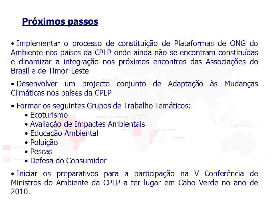 Implementar o processo de constituição de Plataformas de ONG do Ambiente nos países da CPLP onde ainda não se encontram constituídas e dinamizar a integração nos próximos encontros das Associações do Brasil e de Timor-Leste Próximos passos Desenvolver um projecto conjunto de Adaptação às Mudanças Climáticas nos países da CPLP Iniciar os preparativos para a participação na V Conferência de Ministros do Ambiente da CPLP a ter lugar em Cabo Verde no ano de 2010.