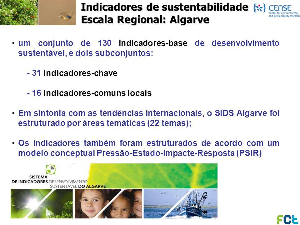 Indicadores de sustentabilidade Escala Regional: Algarve um conjunto de 130 indicadores-base de desenvolvimento sustentável, e dois subconjuntos: - 31