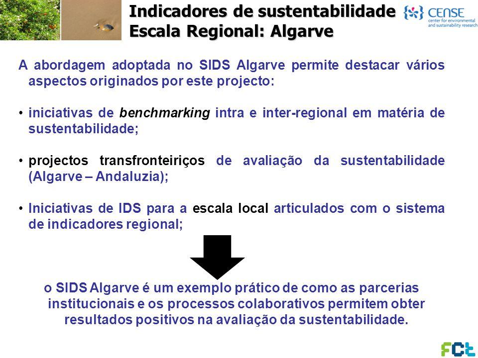 Indicadores de sustentabilidade Escala Regional: Algarve A abordagem adoptada no SIDS Algarve permite destacar vários aspectos originados por este pro