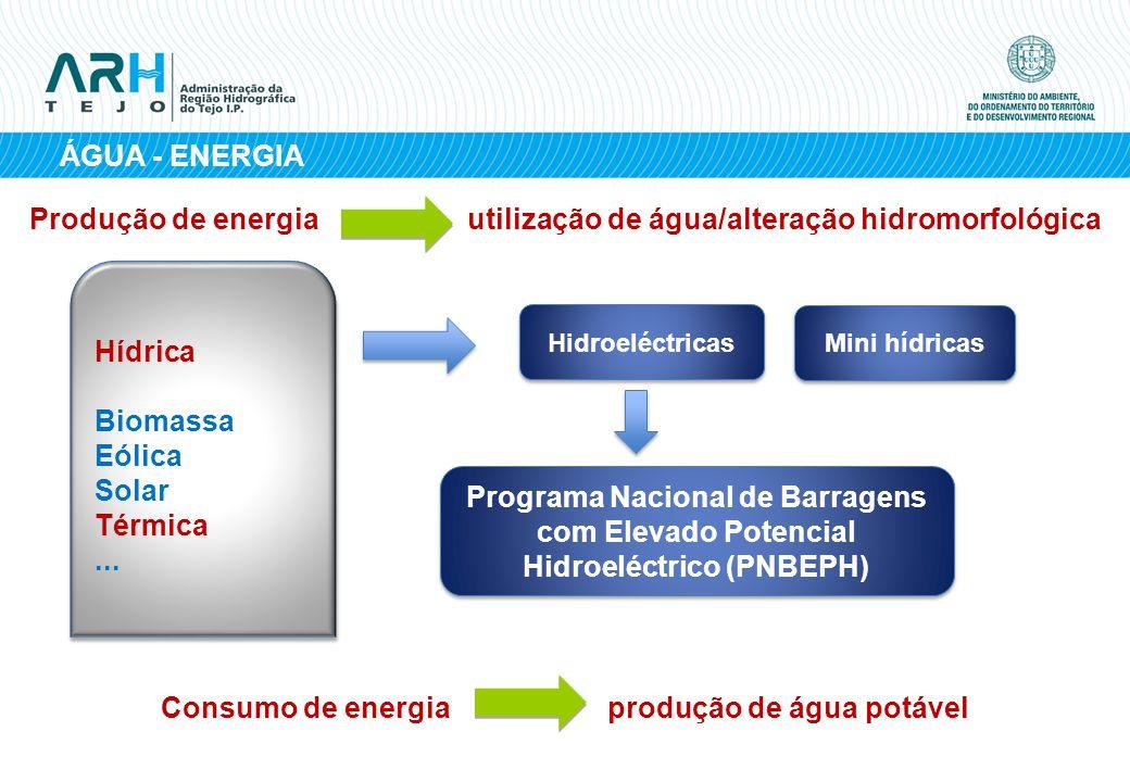 ÁGUA - ENERGIA Hidroeléctricas Programa Nacional de Barragens com Elevado Potencial Hidroeléctrico (PNBEPH) Mini hídricas Hídrica Biomassa Eólica Sola