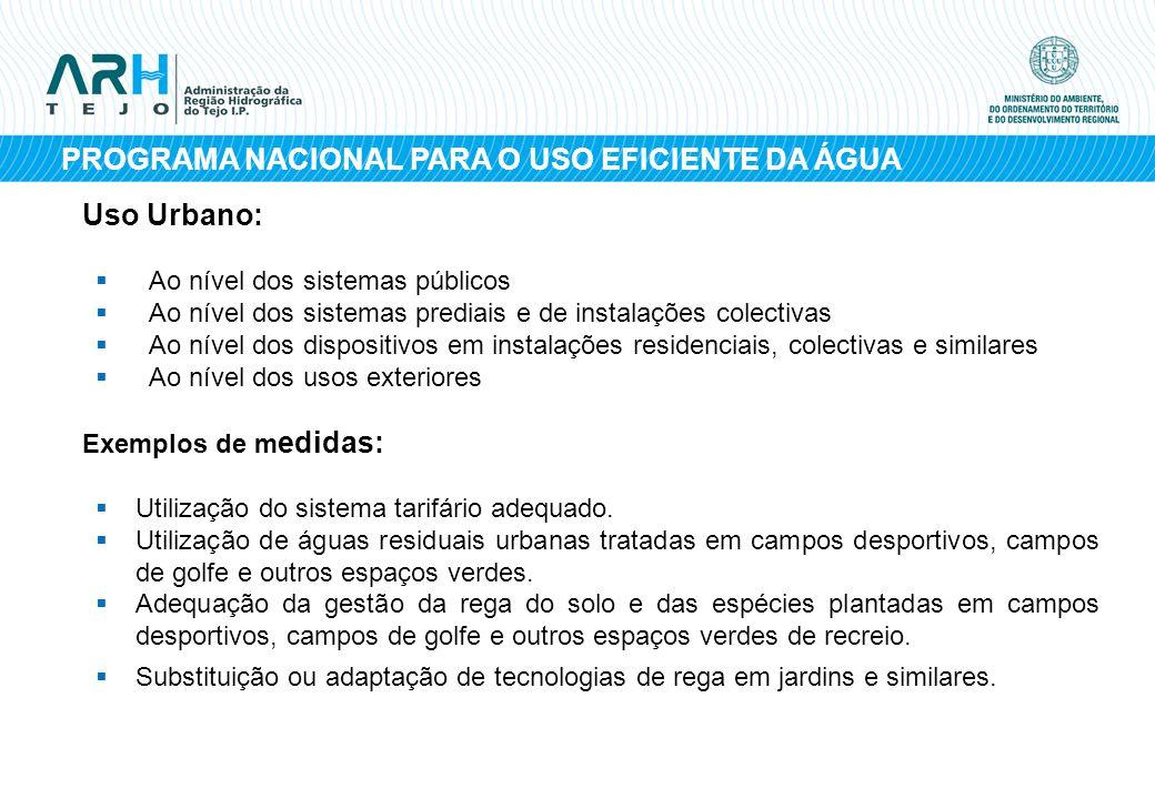 PROGRAMA NACIONAL PARA O USO EFICIENTE DA ÁGUA Uso Urbano: Ao nível dos sistemas públicos Ao nível dos sistemas prediais e de instalações colectivas A