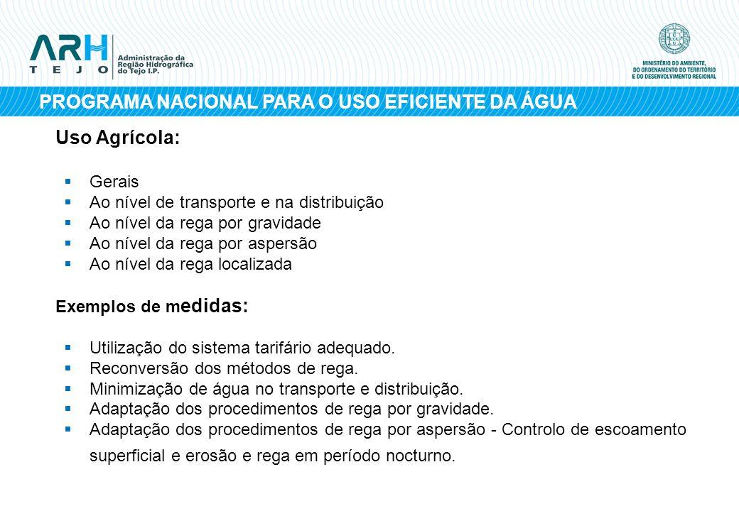 PROGRAMA NACIONAL PARA O USO EFICIENTE DA ÁGUA Uso Agrícola: Gerais Ao nível de transporte e na distribuição Ao nível da rega por gravidade Ao nível d