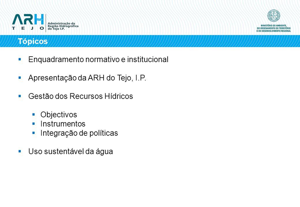 Tópicos Enquadramento normativo e institucional Apresentação da ARH do Tejo, I.P. Gestão dos Recursos Hídricos Objectivos Instrumentos Integração de p