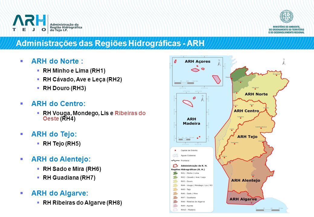 ARH do Norte : RH Minho e Lima (RH1) RH Cávado, Ave e Leça (RH2) RH Douro (RH3) ARH do Centro: RH Vouga, Mondego, Lis e Ribeiras do Oeste (RH4) ARH do