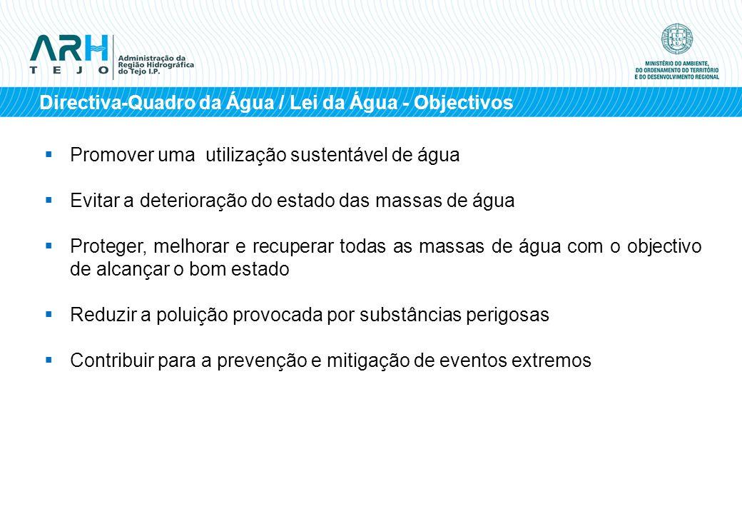 Directiva-Quadro da Água / Lei da Água - Objectivos Promover uma utilização sustentável de água Evitar a deterioração do estado das massas de água Pro