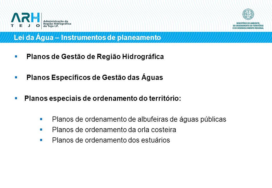 Planos de Gestão de Região Hidrográfica Planos Específicos de Gestão das Águas Planos especiais de ordenamento do território: Planos de ordenamento de