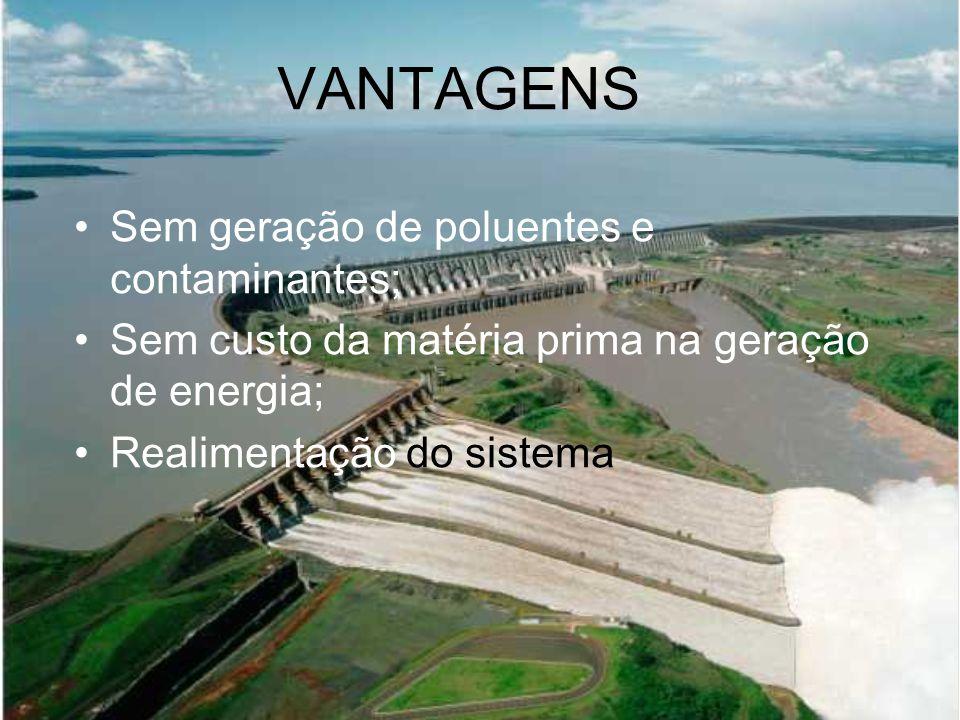 VANTAGENS Sem geração de poluentes e contaminantes; Sem custo da matéria prima na geração de energia; Realimentação do sistema
