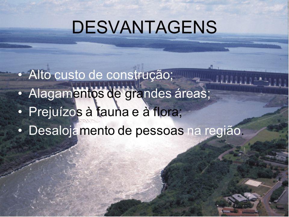 DESVANTAGENS Alto custo de construção; Alagamentos de grandes áreas; Prejuízos à fauna e à flora; Desalojamento de pessoas na região.