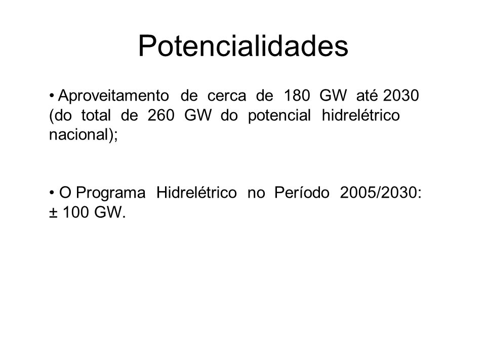 Potencialidades Aproveitamento de cerca de 180 GW até 2030 (do total de 260 GW do potencial hidrelétrico nacional); O Programa Hidrelétrico no Período