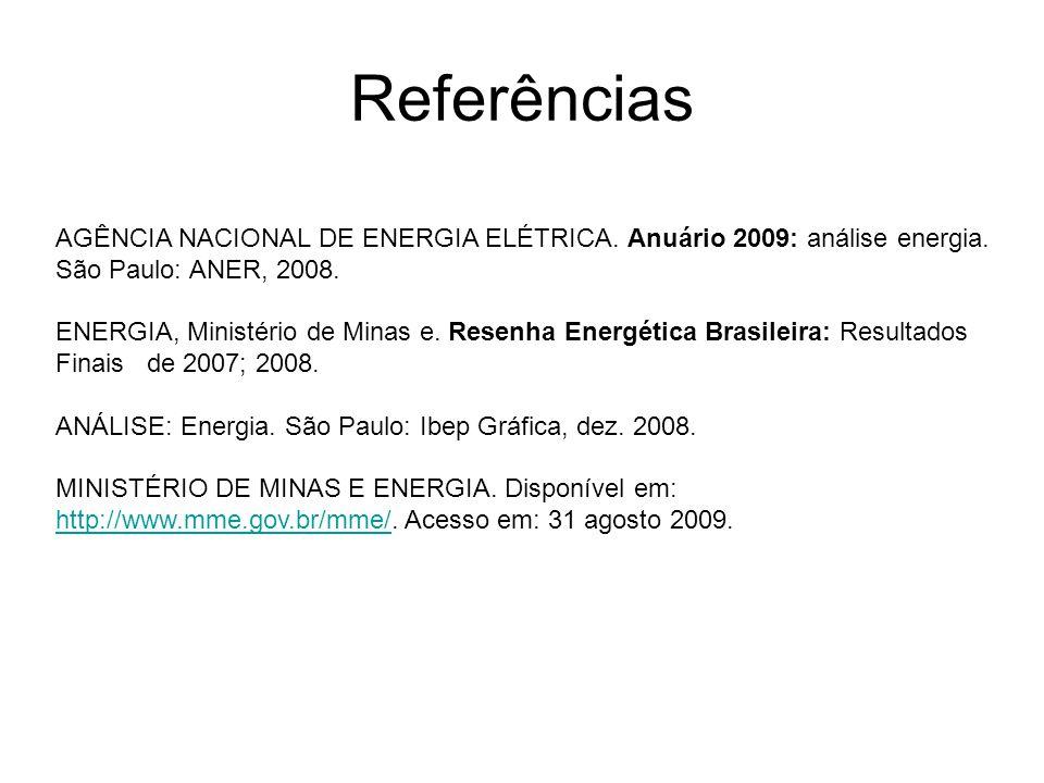 Referências AGÊNCIA NACIONAL DE ENERGIA ELÉTRICA. Anuário 2009: análise energia. São Paulo: ANER, 2008. ENERGIA, Ministério de Minas e. Resenha Energé