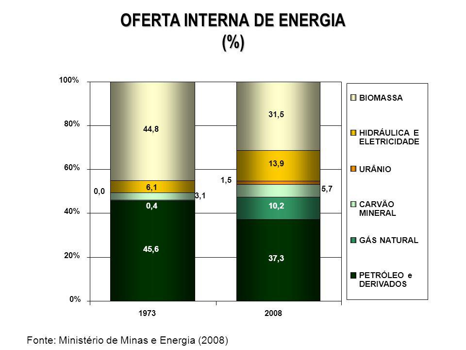 MATRIZ DE OFERTA DE ENERGIA ELÉTRICA 2008 (%) CARVÃO MINERAL 1,6% GÁS NATURAL 5,9% NUCLEAR 2,8% DERIVADOS DE PETRÓLEO 3,1% BIOMASSA 4,8% GÁS INDUSTRIAL 0,9% IMPORTAÇÃO 8,4% HIDRO 73,2% RENOVÁVEIS: Brasil: 86% Mundo: 18% Fonte: Ministério de Minas e Energia (2008)