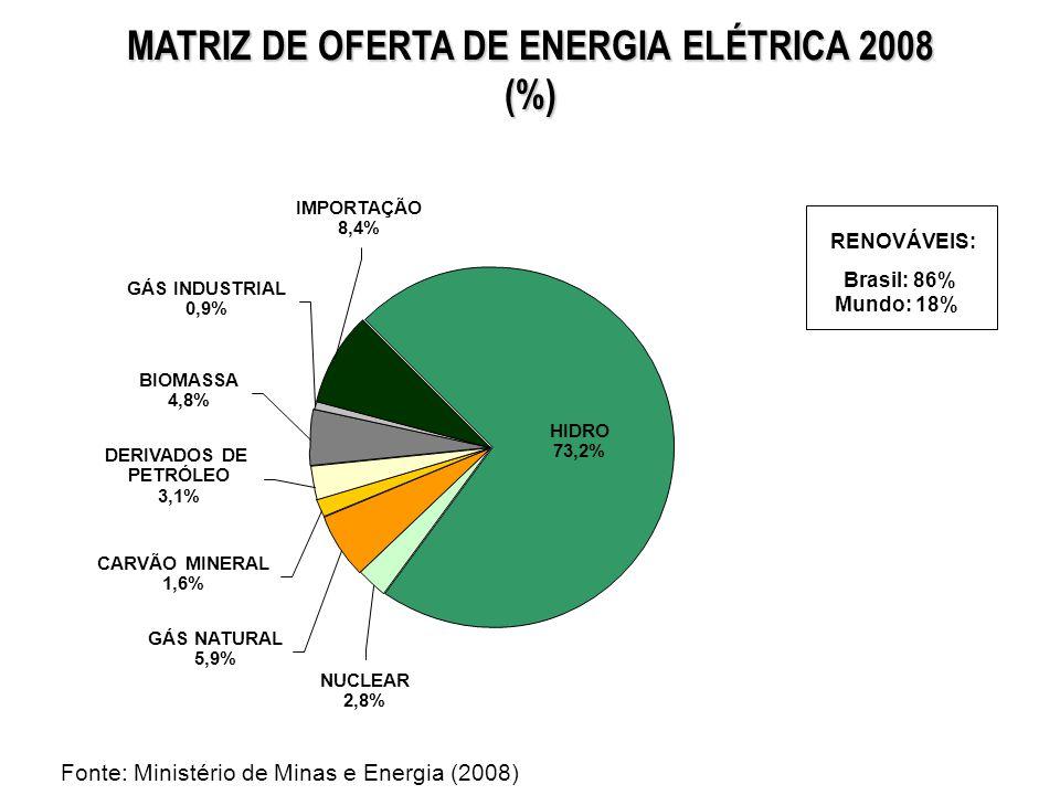 MATRIZ DE OFERTA DE ENERGIA ELÉTRICA 2008 (%) CARVÃO MINERAL 1,6% GÁS NATURAL 5,9% NUCLEAR 2,8% DERIVADOS DE PETRÓLEO 3,1% BIOMASSA 4,8% GÁS INDUSTRIA