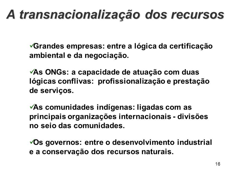 A transnacionalização dos recursos 16 Grandes empresas: entre a lógica da certificação ambiental e da negociação. As ONGs: a capacidade de atuação com