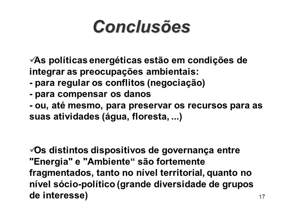 Conclusões 17 As políticas energéticas estão em condições de integrar as preocupações ambientais: - para regular os conflitos (negociação) - para comp