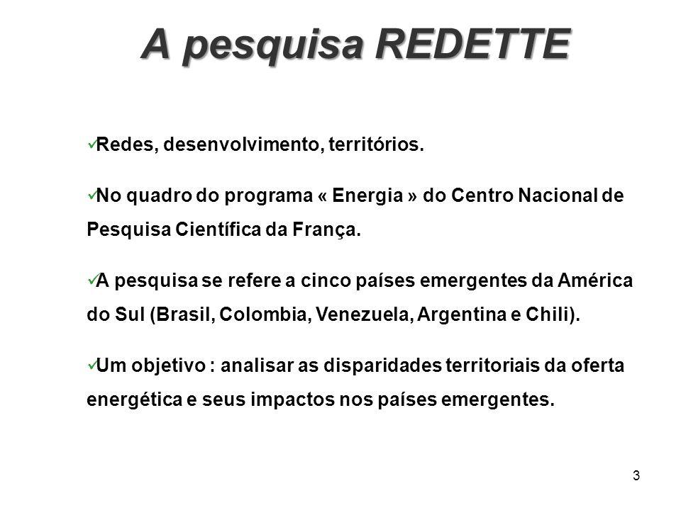 A pesquisa REDETTE A pesquisa REDETTE 3 Redes, desenvolvimento, territórios. No quadro do programa « Energia » do Centro Nacional de Pesquisa Científi