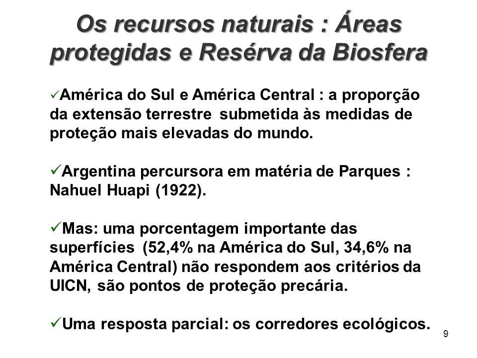 Os recursos naturais : Áreas protegidas e Resérva da Biosfera 9 América do Sul e América Central : a proporção da extensão terrestre submetida às medi