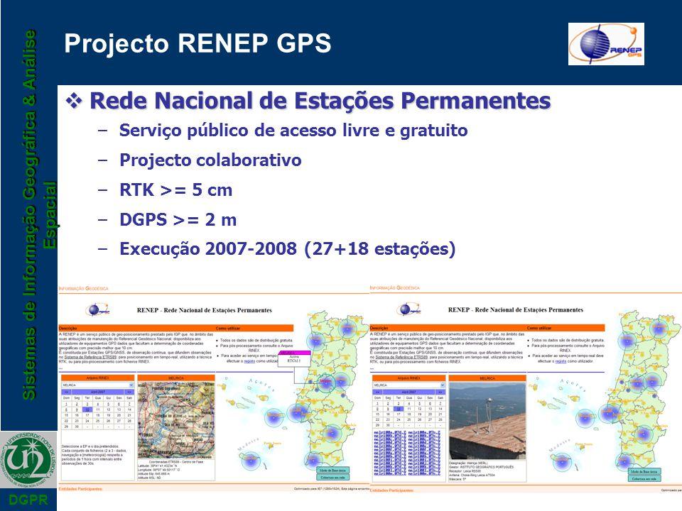 Sistemas de Informação Geográfica & Análise Espacial DGPR Projecto RENEP GPS Rede Nacional de Estações Permanentes Rede Nacional de Estações Permanent
