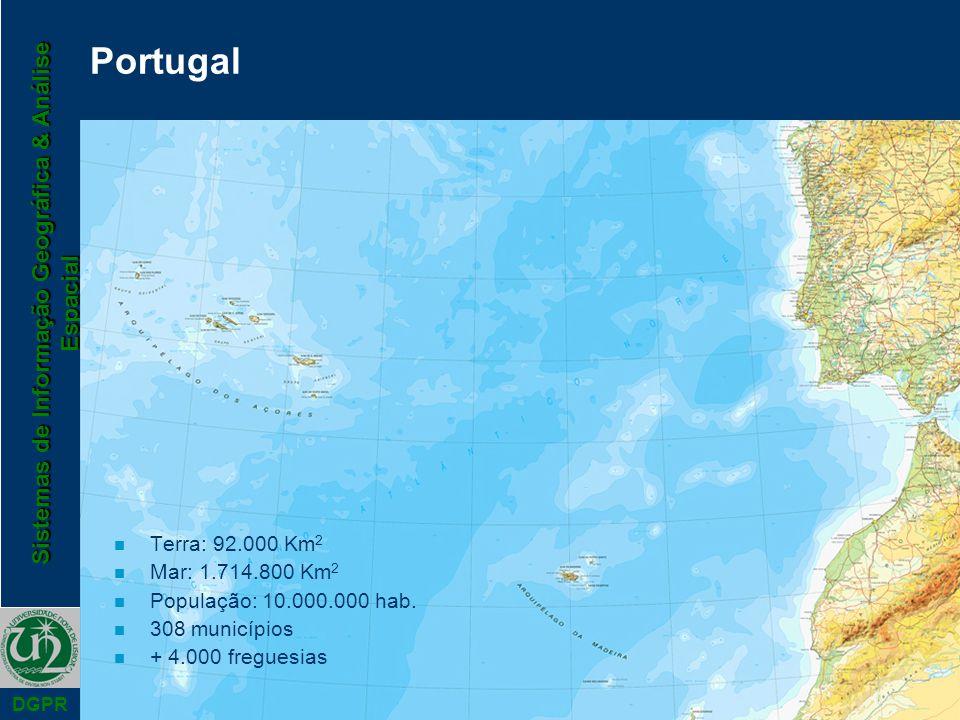 Sistemas de Informação Geográfica & Análise Espacial DGPR Terra: 92.000 Km 2 Mar: 1.714.800 Km 2 População: 10.000.000 hab. 308 municípios + 4.000 fre