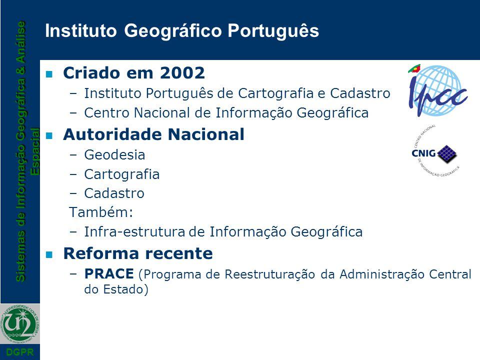 Sistemas de Informação Geográfica & Análise Espacial DGPR Instituto Geográfico Português n Criado em 2002 –Instituto Português de Cartografia e Cadast