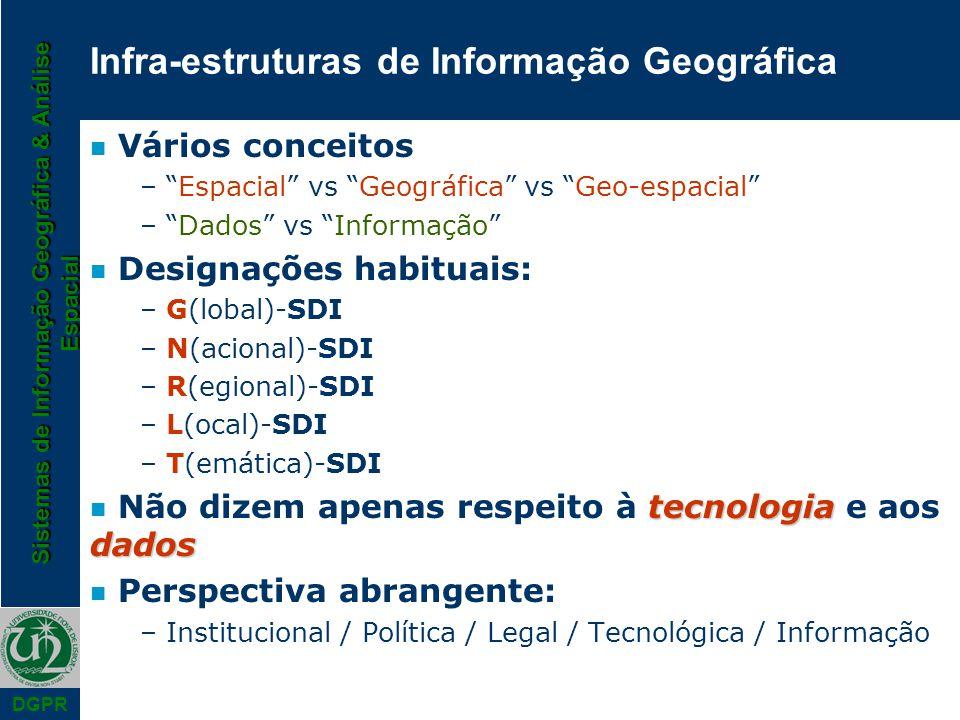 Sistemas de Informação Geográfica & Análise Espacial DGPR n Vários conceitos – Espacial vs Geográfica vs Geo-espacial – Dados vs Informação n Designaç