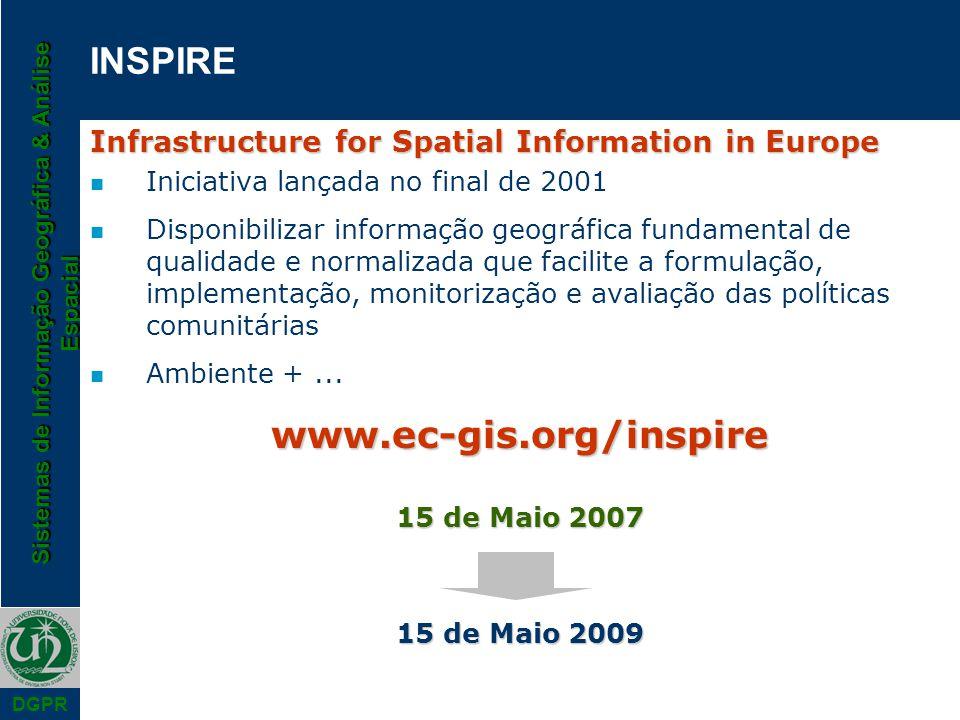 Sistemas de Informação Geográfica & Análise Espacial DGPR INSPIRE Infrastructure for Spatial Information in Europe n Iniciativa lançada no final de 20