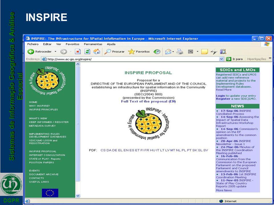 Sistemas de Informação Geográfica & Análise Espacial DGPR INSPIRE