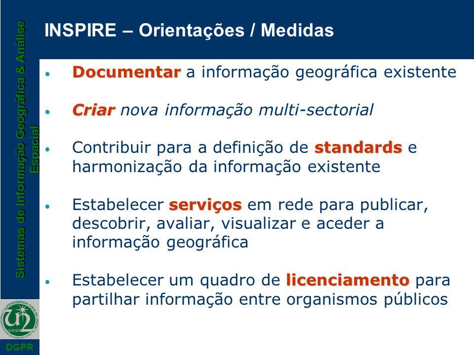 Sistemas de Informação Geográfica & Análise Espacial DGPR INSPIRE – Orientações / Medidas Documentar Documentar a informação geográfica existente Cria