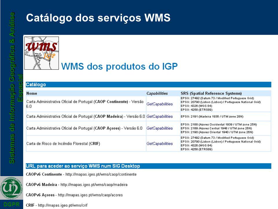 Sistemas de Informação Geográfica & Análise Espacial DGPR Catálogo dos serviços WMS